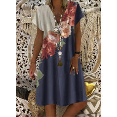 Print/Floral Short Sleeves Shift Knee Length Casual T-shirt Dresses