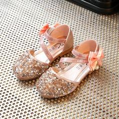 A menina de Toe rodada imitação de couro Heel plana Sapatas do florista com Bowknot Strass Velcro