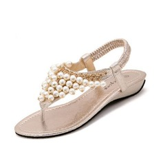 Women's Leatherette Wedge Heel Sandals With Imitation Pearl shoes