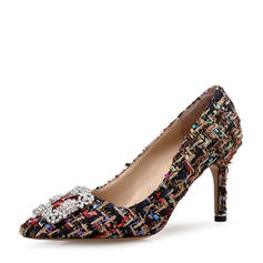 Frauen Stoff Stöckel Absatz Absatzschuhe Geschlossene Zehe mit Schnalle Schuhe
