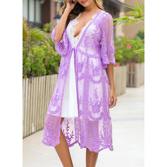 Floral Solid Color Sexy Boho Cover-ups Swimsuits