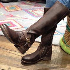 De mujer PU Tacón plano Planos Cerrados Botas Botas a la rodilla con Cremallera zapatos