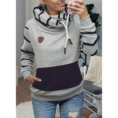 Striped Pockets Long Sleeves Hoodie