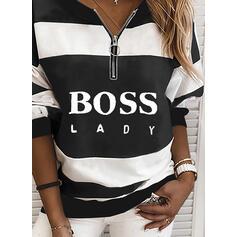 Print Color Block Figure V-Neck Long Sleeves Sweatshirt