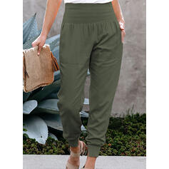 Pockets Shirred Long Casual Solid Sporty Pants