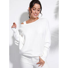 Solid One-Shoulder Long Sleeves Casual Elegant Knit Blouses