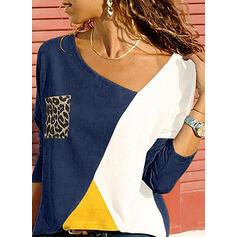 Kleurblok luipaard V-hals Lange Mouwen Casual Overhemd