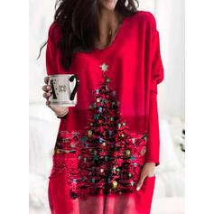Print Zakken Ronde nek Lange Mouwen Kerst Sweatshirt