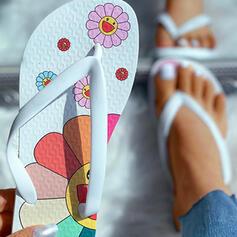Femmes PVC Talon plat Sandales avec Une fleur chaussures