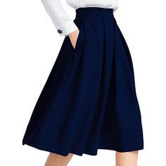 Polyester Effen kleur knielengte Gevouwen Rokken A-Line Rokken