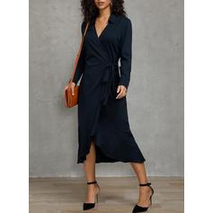Solid Mâneci Lungi Manşon Midi Petrecere/Elegant Elbiseler