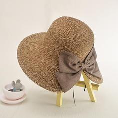 Dames Fait main/Le plus chaud Raphia paille/Polyester avec Bowknot Chapeau de paille/Chapeaux de plage / soleil