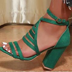 De mujer Ante Tacón ancho Sandalias Salón Encaje Encaje con Hebilla Agujereado Color sólido zapatos