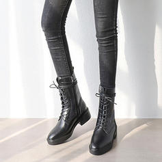 Women's Leatherette Low Heel Boots Martin Boots With Lace-up shoes