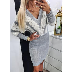 Color Block Long Sleeves Bodycon Above Knee Casual/Elegant Sweater Dresses