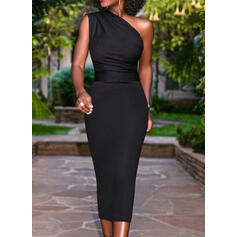 Solid Sleeveless Bodycon Pencil Little Black/Party Midi Dresses