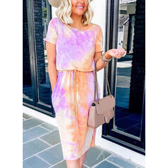 Print Sleeveless Sheath Casual Midi Dresses