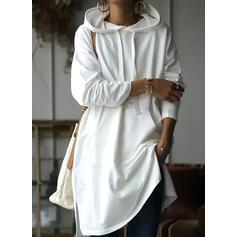 Solid Long Sleeves Shift Knee Length Casual Sweatshirt Dresses