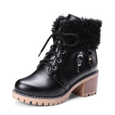 Women's PU Chunky Heel Pumps Platform Boots Ankle Boots With Lace-up Faux-Fur shoes