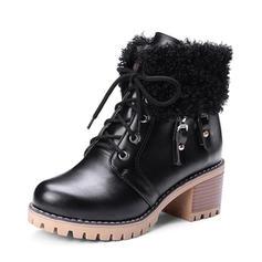Femmes PU Talon bottier Escarpins Plateforme Bottes Bottines avec Dentelle Fausse Fourrure chaussures