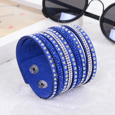 Lovely Leatherette With Rhinestone Women's Fashion Bracelets (Sold in a single piece)