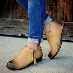 Női PU Alacsony sarok Csizma -Val Lánc cipő