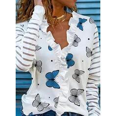 Nadruk butterfly Dekolt w kształcie litery V Długie rękawy T-shirty