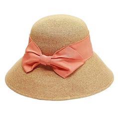 Dames Fait main/Le plus chaud Raphia paille avec Bowknot Chapeau de paille/Chapeaux de plage / soleil