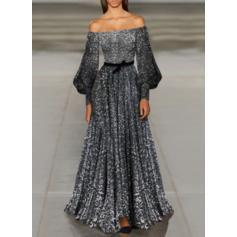 Cekiny Długie rękawy W kształcie litery A Przyjęcie/Elegancki Maxi Sukienki