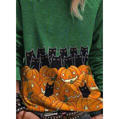 Stampato Animale Girocollo Maniche lunghe Casuale Halloween Maglietta