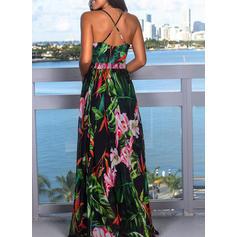 Impresión/Floral Sin mangas Acampanado Vacaciones Maxi Vestidos