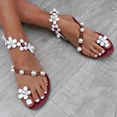 Women's PU Flat Heel Sandals Peep Toe With Imitation Pearl Flower shoes