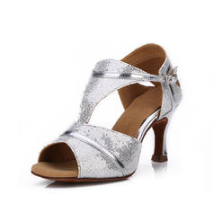 Women's Latin Heels Sandals Sparkling Glitter With Buckle Latin