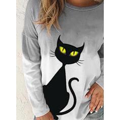 Animal Print Halloween Gradient Round Neck Long Sleeves Sweatshirt