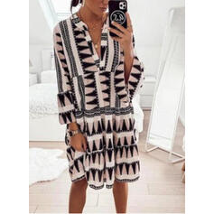Geometric Print 3/4 Sleeves Shift Knee Length Casual/Vacation Dresses