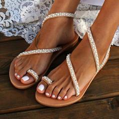 PU Talon plat Sandales Chaussures plates À bout ouvert Anneau d'orteil avec Perle d'imitation chaussures