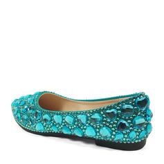 Frauen Kunstleder Flascher Absatz Geschlossene Zehe Flache Schuhe mit Strass