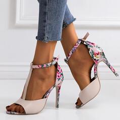 Women's Leatherette Stiletto Heel Sandals Pumps Peep Toe Heels With Buckle shoes