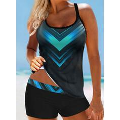 Print Gradient Strap U-Neck Attractive Casual Tankinis Swimsuits