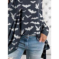Zwierzęcy Odkryte ramię Długie rękawy Casual Halloween Bluzki