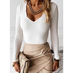 Solide V-hals Lange Mouwen Casual Basic Overhemd