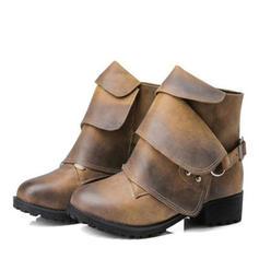 Vrouwen Kunstleer Chunky Heel Pumps Laarzen met Gesp schoenen