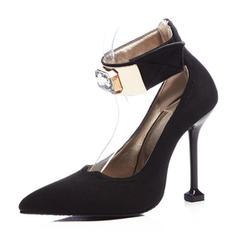 Dla kobiet Zamsz Obcas Stiletto Czólenka Zakryte Palce Mary Jane Z Stras/ Krysztal Górski Rzep obuwie