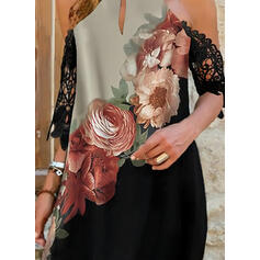 Encaje/Impresión/Floral/Bloque de color Mangas 3/4 Tendencia Sobre la Rodilla Casual/Vacaciones Túnica Vestidos