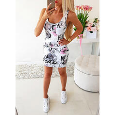 Print/Floral Sleeveless Bodycon Above Knee Casual Dresses