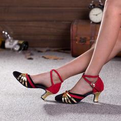 Women's Suede PU Spool Heel Pumps With Buckle shoes