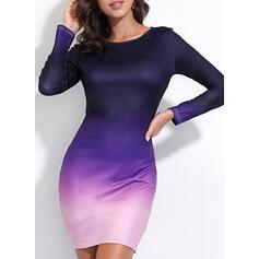 Tie Dye Long Sleeves Bodycon Knee Length Casual Dresses