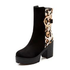 Femmes Suède Talon bottier Bottes avec Semelle chaussures