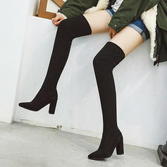 Women's Suede Chunky Heel Pumps Boots Over The Knee Boots shoes