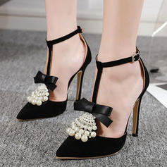 Women's PU Stiletto Heel Pumps With Bowknot Pearl shoes
